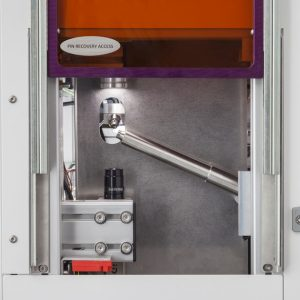 CrystalDirect - Automatic crystal harvester - View of the sample recovery: the trap access is open.